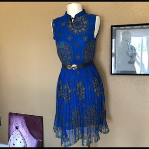 Dresses & Skirts - Vintage Pleated chiffon blue mandarin collar dress
